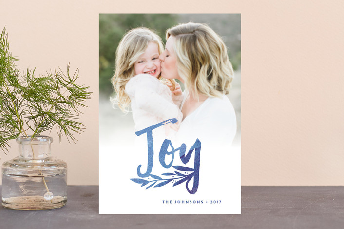 """Vivid Rejoice"" - Holiday Petite Cards in Cobalt by Olivia Raufman."