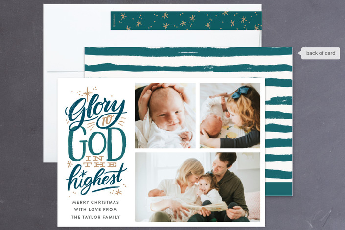 """Glory to God in the Highest Star"" - Bold typographic, Hand Drawn Holiday Petite Cards in Red by Alethea and Ruth."
