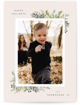 This is a pink petite holiday card by Itsy Belle Studio called Natural Foliage with standard printing on smooth signature in petite.