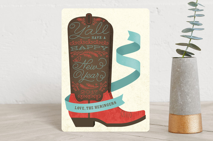 """Holiday Boots"" - Holiday Petite Cards in peppermint by Ann Gardner."