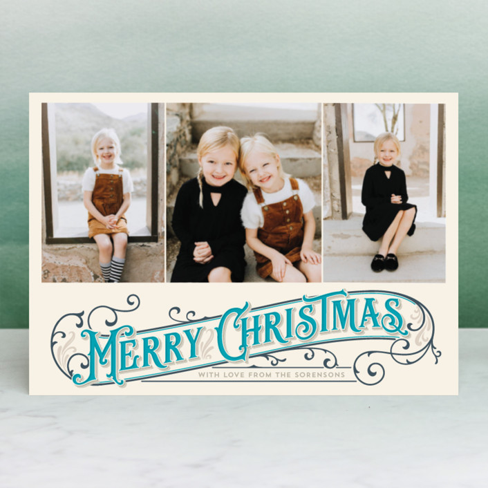"""""""Antique Christmas"""" - Vintage Holiday Petite Cards in Ruby by GeekInk Design."""