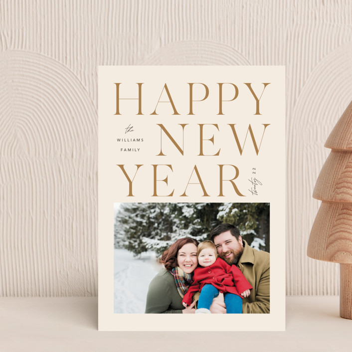 """""""Faith & Love & Family"""" - Modern Holiday Petite Cards in Buttercream by Robert and Stella."""