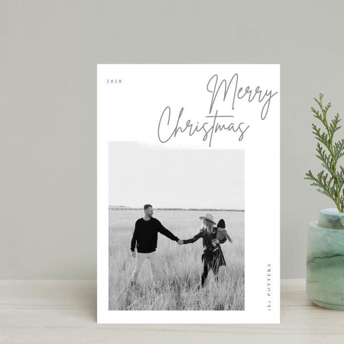 """minimal christmas script"" - Holiday Petite Cards in Stone by Sumak Studio."