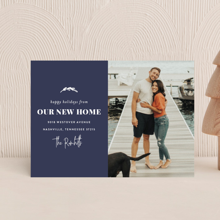 """""""Our New Home for the Holidays"""" - Holiday Petite Cards in Navy by Sara Hicks Malone."""