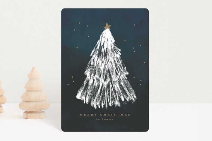 """""""White Christmas"""" - Modern Holiday Petite Cards in Peace by Sweta Modi."""