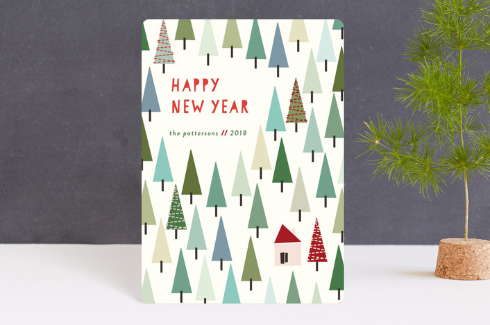 """Christmas in the Mountains"" - Modern Holiday Petite Cards in Pine Green by lulu and isabelle."