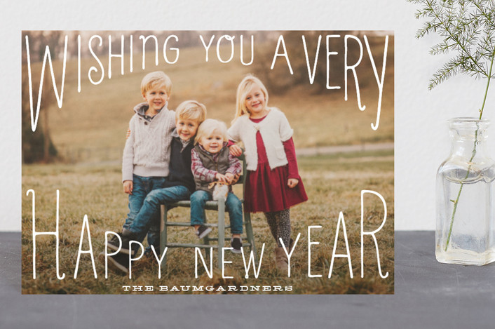 """""""Merry Wishes Overlay"""" - Holiday Petite Cards in Milk by Baumbirdy."""