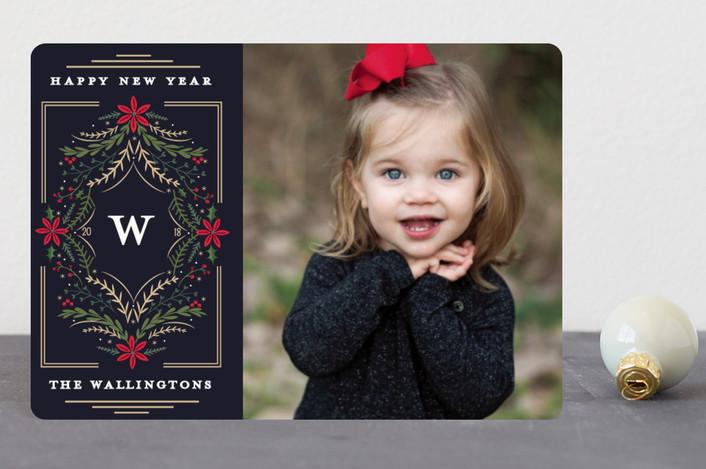 """Botanical Monogram"" - Holiday Petite Cards in Navy by Susan Moyal."