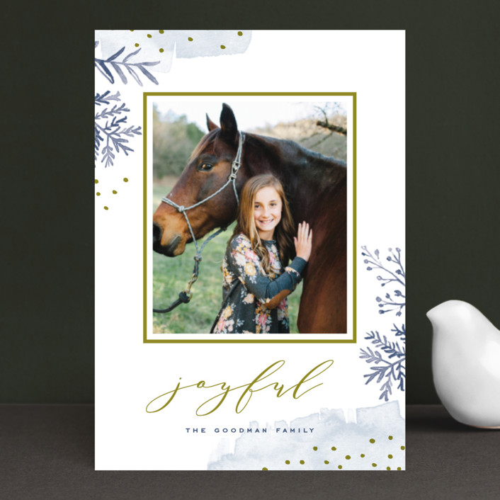 """Watercolor Winter"" - Holiday Petite Cards in Frost by Oscar & Emma."