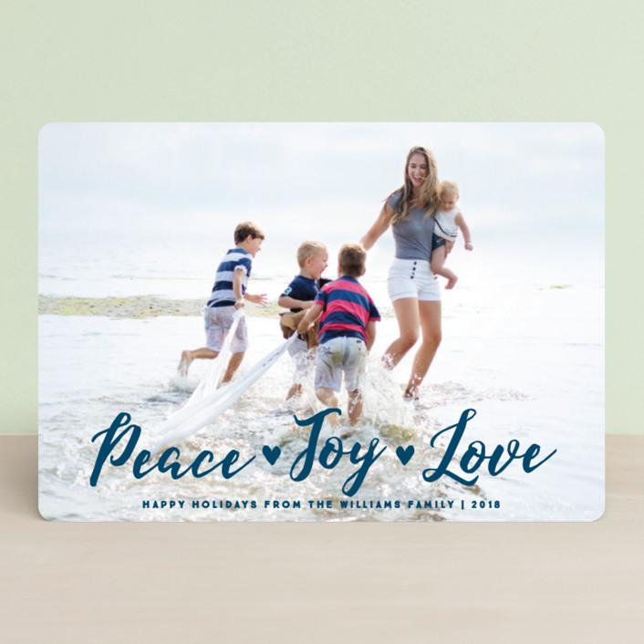 """Peace Joy Love"" - Bohemian Holiday Petite Cards in Pointsettia by Paper Dahlia."