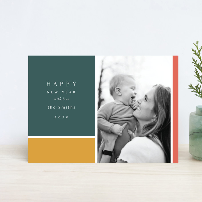 """Color Block"" - Modern Holiday Petite Cards in Forest by Nicole Walsh."