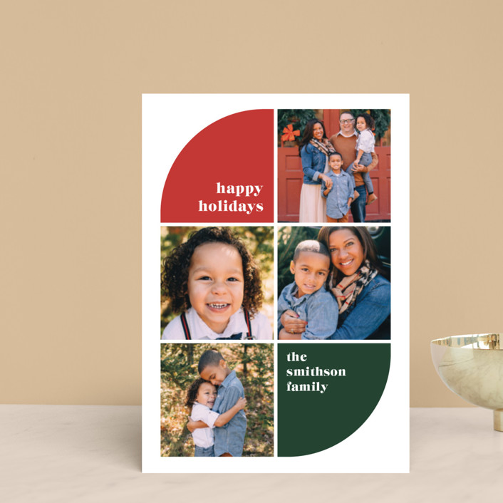 """Corner Curve"" - Modern Holiday Petite Cards in Cherry by Ella Weaver."