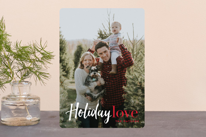 """""""Filled with Holiday Love"""" - Modern Holiday Petite Cards in Berry by Carrie ONeal."""