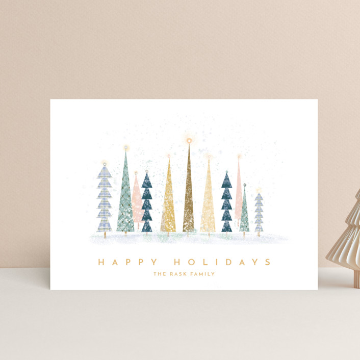 """Happy Holidays"" - Vintage, Modern Holiday Petite Cards in Snow by Laura Mitchell."