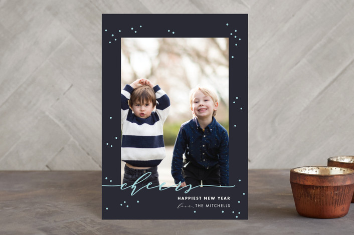"""""""New Year Cheers"""" - Holiday Petite Cards in denim by Shirley Lin Schneider."""