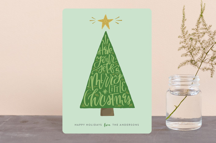 """Doodle Tree"" - Holiday Petite Cards in Mint by Olivia Goree."