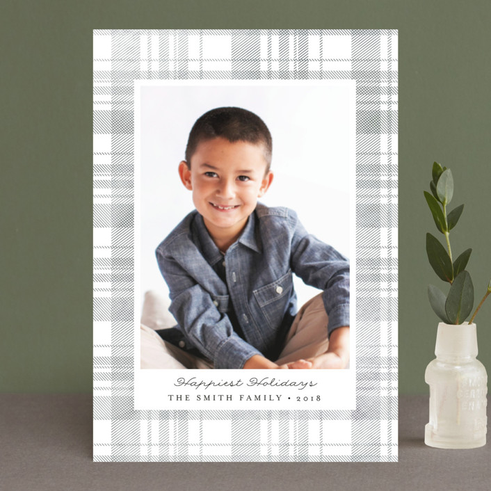 """Festive Plaid"" - Holiday Petite Cards in Smoke by Carolyn Nicks."