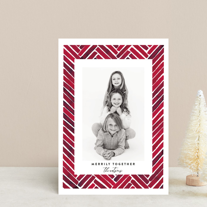 """""""Merrily Together"""" - Modern Holiday Petite Cards in Crimson by Susan Moyal."""