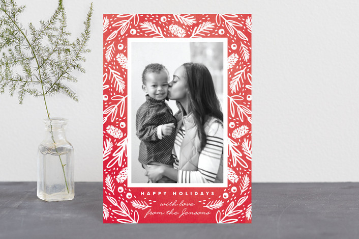 """""""Watercolor Forest Frame"""" - Holiday Petite Cards in Berry by Kristie Kern."""