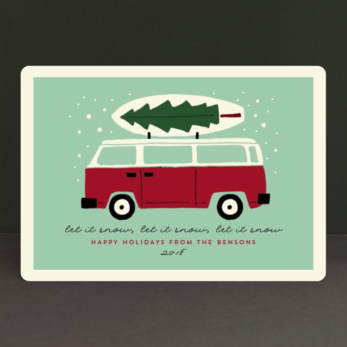 """surfboard winter"" - Vintage Holiday Petite Cards in Seafoam by JeAnna Casper."
