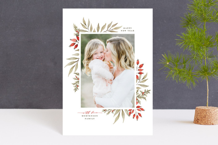"""Elegant Floral Frame"" - Holiday Petite Cards in Holly Berry by Wildfield Paper Co.."