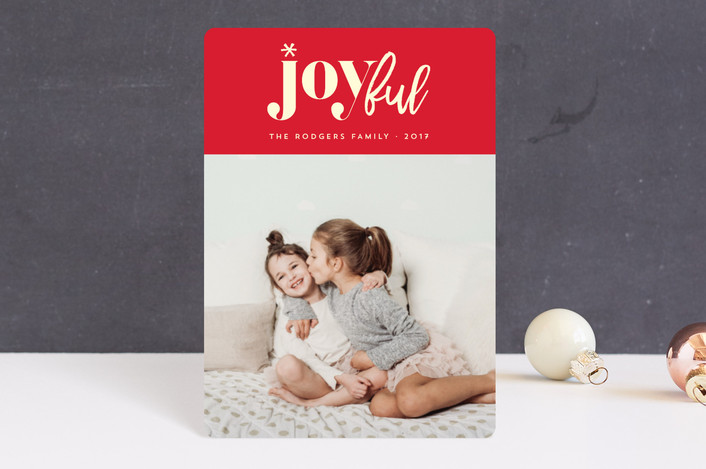 """joyfully yours"" - Modern Holiday Petite Cards in Berry by Rebecca Bowen."