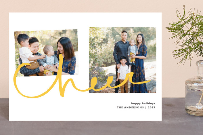 """""""Cheer for Two"""" - Holiday Petite Cards in Soft Gold by Tyler Tea."""