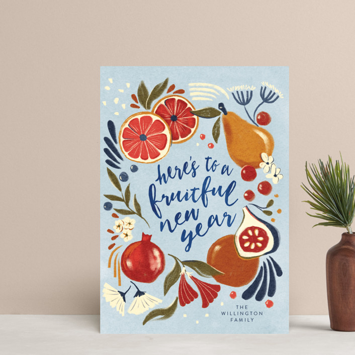 """Fruitful year"" - Holiday Petite Cards in Aqua by Vivian Yiwing."