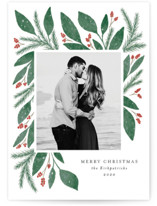 This is a green petite holiday card by Lehan Veenker called Cheerful Greens with standard printing on smooth signature in petite.