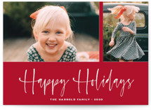 This is a red petite holiday card by Kaydi Bishop called A Scripted Duet with standard printing on smooth signature in petite.