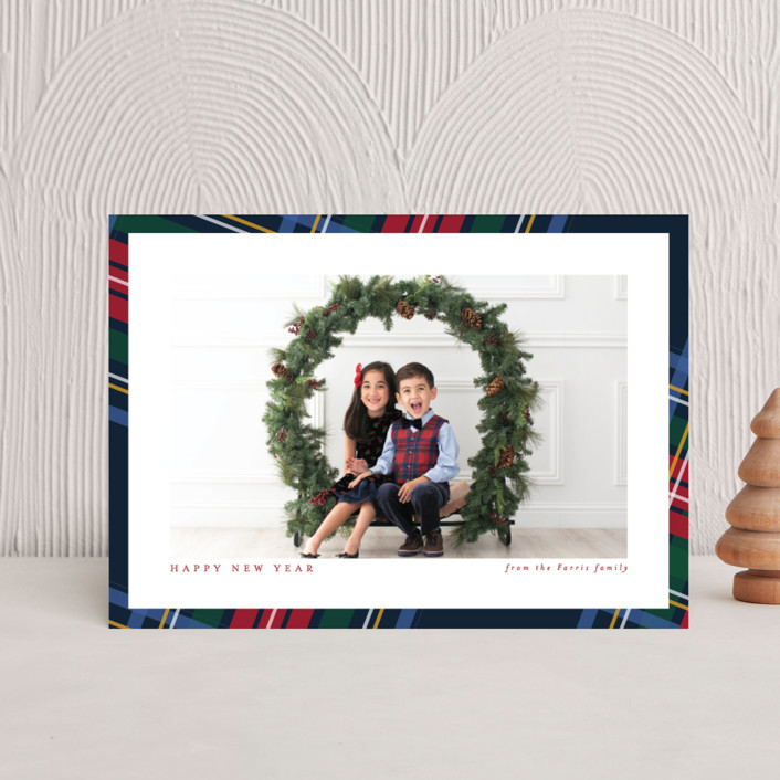 """Plaid framed"" - Holiday Petite Cards in Navy by Lea Delaveris."