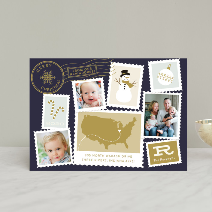 """""""Postmark"""" - Vintage Holiday Petite Cards in Midnight by Sarah Brown."""