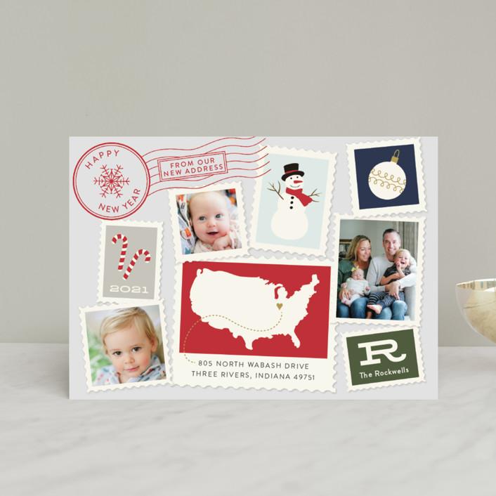 """Postmark"" - Vintage Holiday Petite Cards in Fog by Sarah Guse Brown."