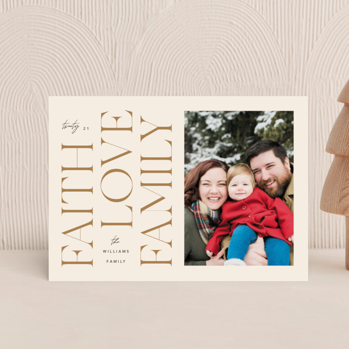 """""""Faith & Love & Family"""" - Holiday Petite Cards in Buttercream by Robert and Stella."""
