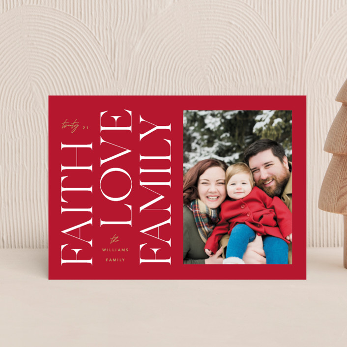 """""""Faith & Love & Family"""" - Holiday Petite Cards in Berry by Robert and Stella."""