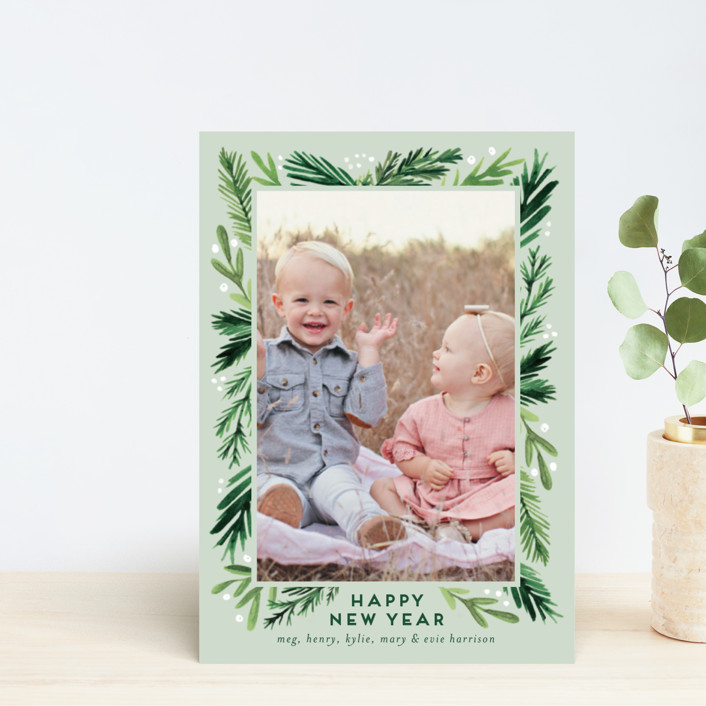 """Branches Framed"" - Holiday Petite Cards in Eucalyptus by Amy Kross."