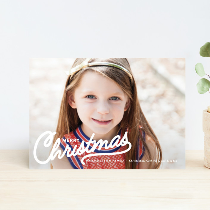 """Vintage Christmas Script"" - Holiday Petite Cards in Snow by Pistols."