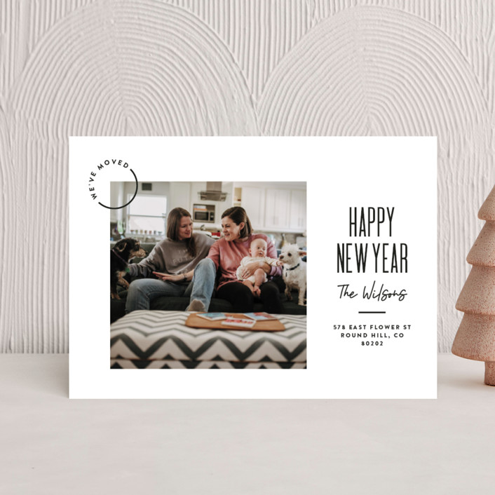 """""""Modern Move"""" - Modern Holiday Petite Cards in Raven by Owl and Toad."""