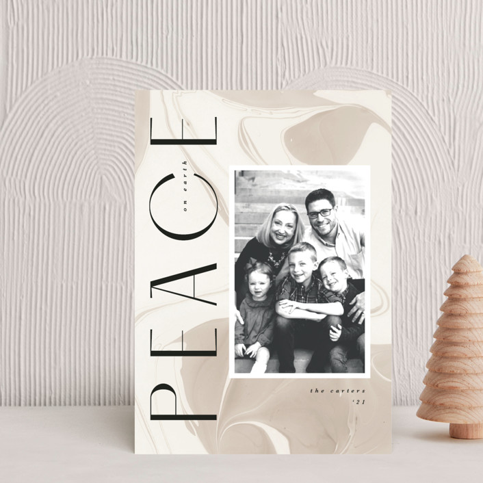 """""""Modern Marble"""" - Holiday Petite Cards in Almond by Kate Ahn."""