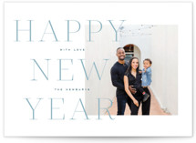 This is a blue petite holiday card by Leah Bisch called Bold Year with standard printing on smooth signature in petite.