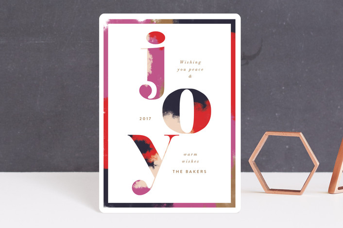 """Graphic Glory"" - Modern Holiday Petite Cards in Tomato by Nazia Hyder."