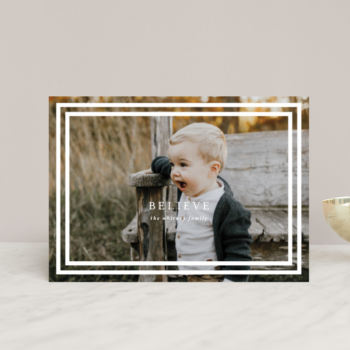 """""""Simple Believe"""" - Modern Holiday Petite Cards in Snow by Christie Garcia."""