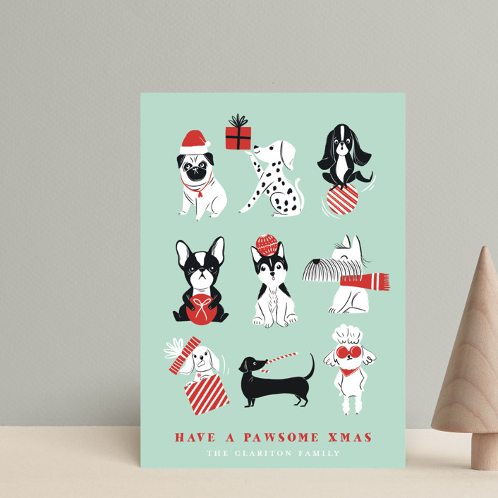 """""""Pawsome Xmas"""" - Funny Holiday Petite Cards in Mint by Vivian Yiwing."""