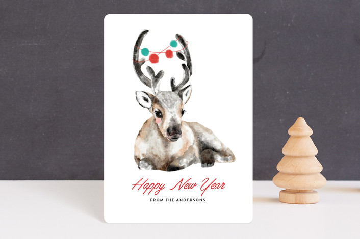 """""""reindeer"""" - Bohemian Holiday Petite Cards in Snow by Cass Loh."""