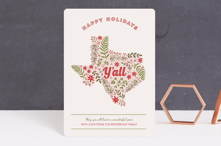 """Happy Holidays Yall"" - Funny Holiday Petite Cards in Peony by Hanna Mac."