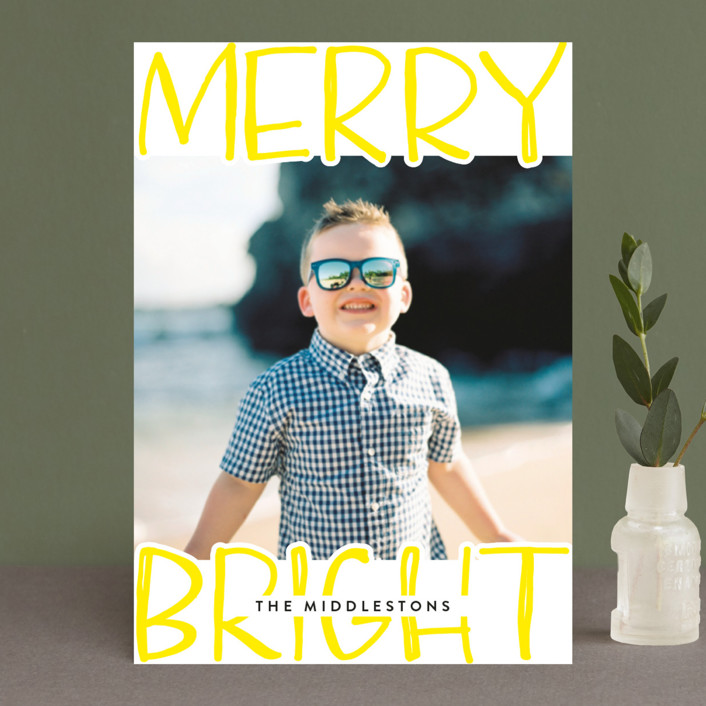 """""""Very Merry Bright"""" - Modern Holiday Petite Cards in Lemon by Annie Montgomery."""