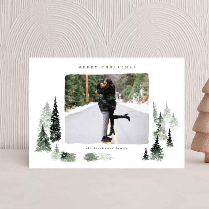 """fall of snow"" - Bohemian Holiday Petite Cards in Evergreen by Anastasia Makarova."