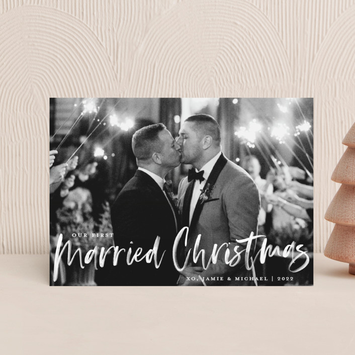 """Our First Married Christmas"" - Holiday Petite Cards in Snow by Paper Dahlia."