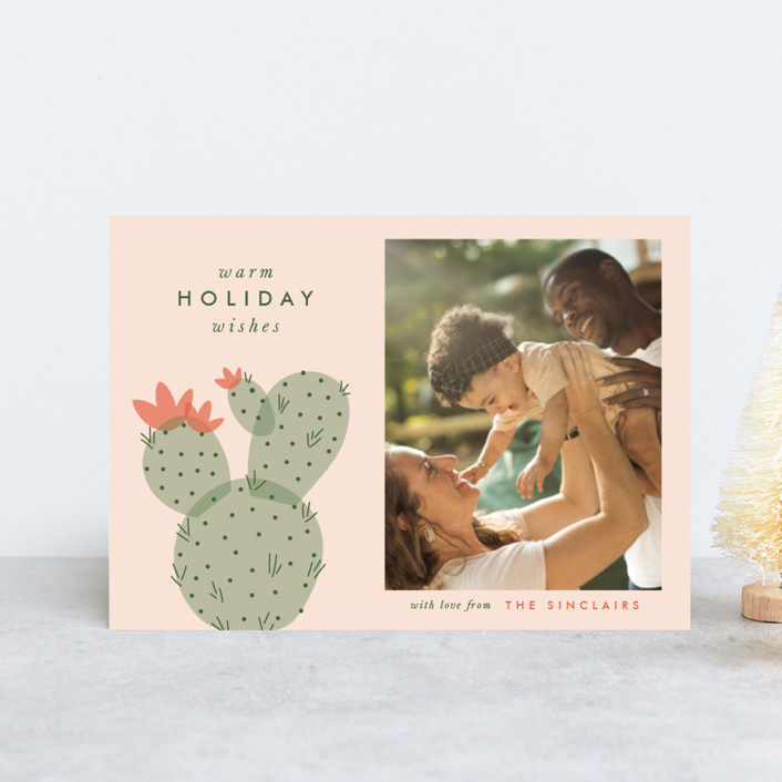 """""""holiday cactus"""" - Holiday Petite Cards in Sunset by The Social Type."""
