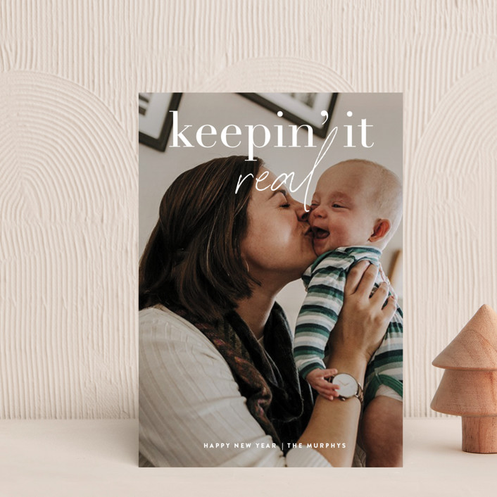 """""""Keepin' It Real"""" - Funny Holiday Petite Cards in Snowfall by Up Up Creative."""
